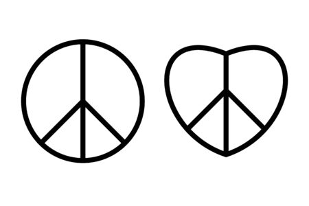 Hippie peace sign black thin line icons. Archivio Fotografico - 129341096