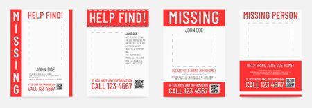 Missing person poster Help to find placard template. Archivio Fotografico - 129341212