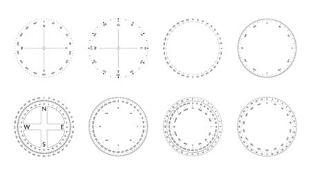Circular protractor with dial and wind directions. Editable stroke width Archivio Fotografico - 129341205