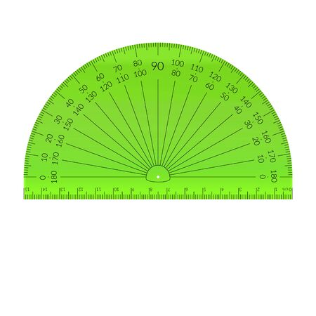Plastic circular protractor with a ruler in metric units. Archivio Fotografico - 129341234