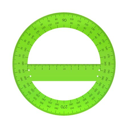 Plastic circular protractor with a ruler in metric units. Archivio Fotografico - 129341240