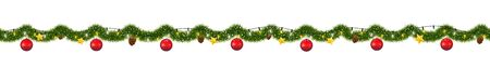 Christmas garland with lights. Seamless New Year tinsel with snow. Archivio Fotografico - 129087661