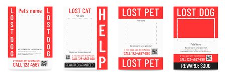 Lost cat pr dog poster, missing pet banner template. Archivio Fotografico - 129341250