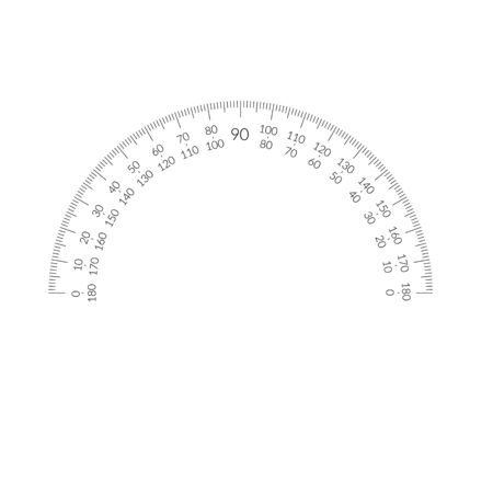Protractor circular scale bar overlay for measuring tools