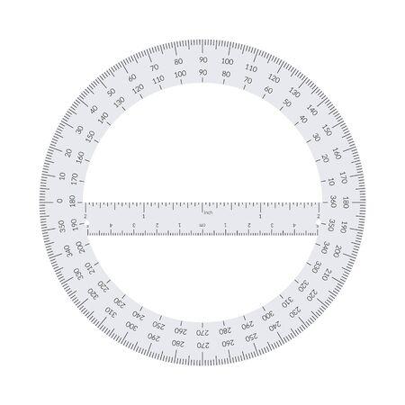 Kątomierz okrągły papierowy z linijką w jednostkach metrycznych i imperialnych. Ilustracje wektorowe