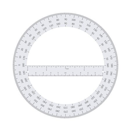 Paper circular protractor with a ruler in metric and imperial units. Vetores