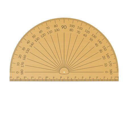 Wooden circular protractor with a ruler in metric units.