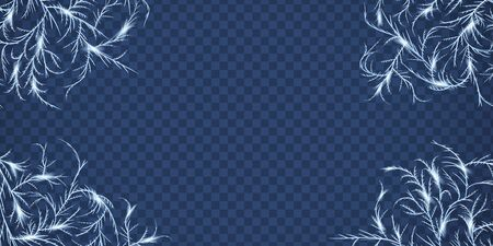 Frost crystals patterns for framing and cornering decoration Stock Illustratie