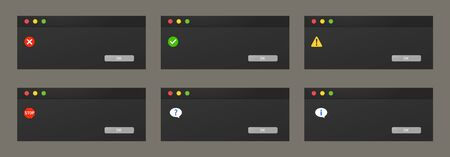 Set of dialogue boxes popups in dark theme of a night mode