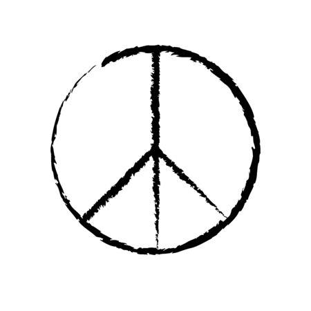 Circular peace sign. Hippie symbol black icon Illusztráció