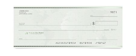 Blank bank check template. Fake cheque page mockup Ilustração
