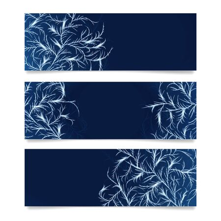 Web banner with frost ornament. Ice crystals pattern overlay Banque d'images - 131896983