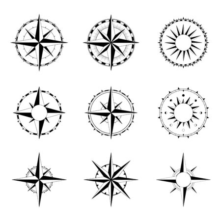 Compass rose of winds for vintage and modern navigation devices