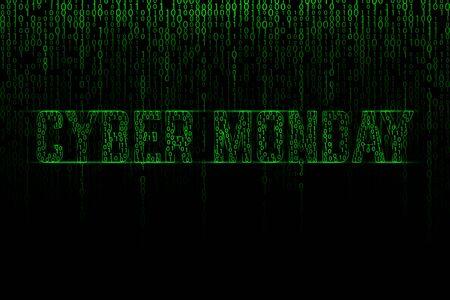 Cyber monday text on a green binary matrix background