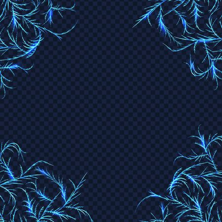 Frost crystals patterns for framing and cornering decoration Banque d'images - 131896604