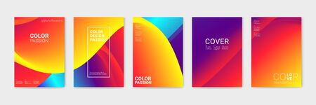 Cover design with abstract background color pattern and waves of color flow with motion of curved lines.