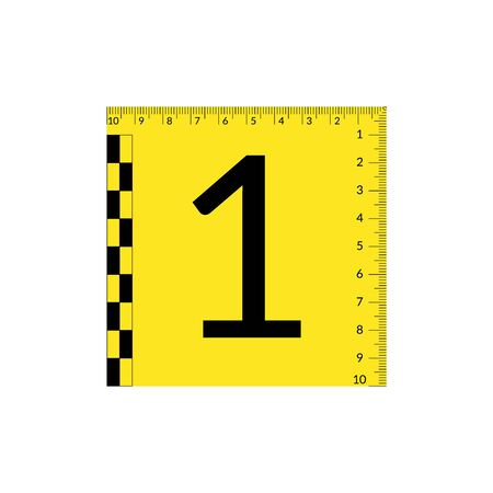 Forensic numeral evidence mark with a measuring rulers