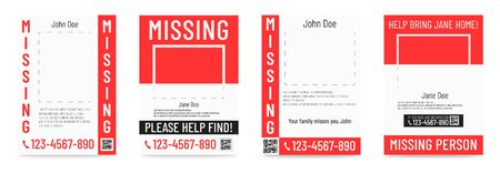 Missing person poster Help to find placard template. Banque d'images - 131896690