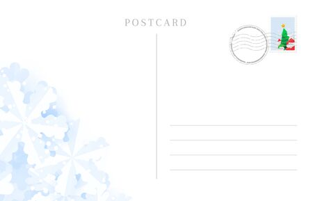 Travel postcard backside for winter holidays greetings Banque d'images - 131896693
