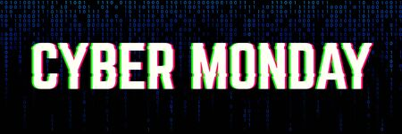 Binary banner for a cyber monday sale clearance. Иллюстрация