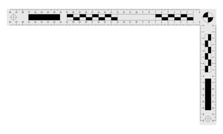 Double angled forensic ruler for measuring a crime evidences Banque d'images - 131896710