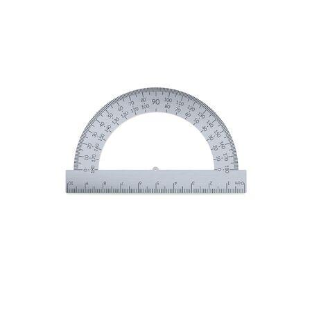Aluminium circular protractor with a ruler in metric units.