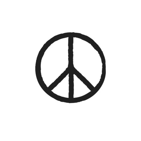 Grunge texture hippie round peace black sign Stock fotó - 131896754