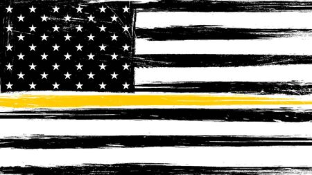 Grunge USA flag with a thin yellow or gold line - a sign to honor and respect American Dispatchers, Security Guards and Loss Prevention