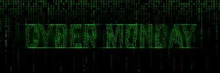 Binary matrix banner for a cyber monday sale clearance Banque d'images - 131896862
