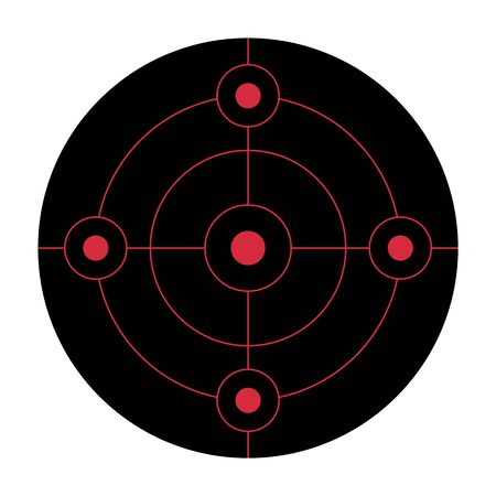 Black circular shooting target for the practice on a gun range Banque d'images - 131896908