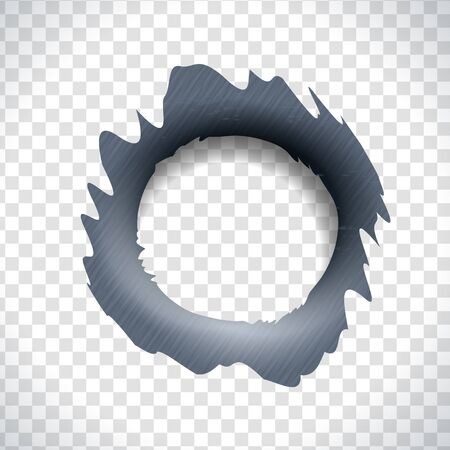 Bullet hole in a metal material. Gunshot trace frame
