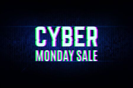 Cyber monday clearance sale concept with a binary background