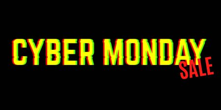 Cyber monday sale banner with anaglyph effect