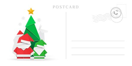 Empty Christmas and New Year postcard template