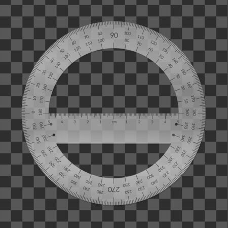 Plastic circular protractor with a ruler in metric units. Banque d'images - 132642998