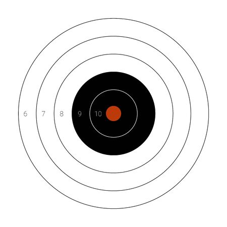 Circular shooting target with a marked bullseye for firing practice on a range Banque d'images - 132643002