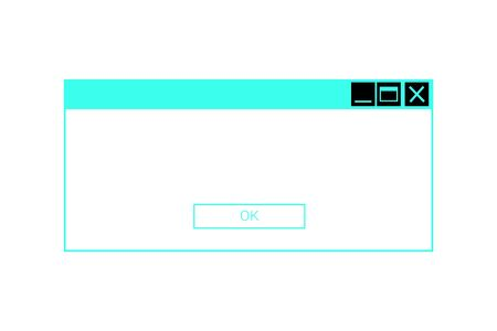 Neon system message dialog box. Error popup or information window frame Banque d'images - 132872835