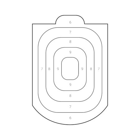 Outlined human torso shaped target for a shooting practice on a gun range