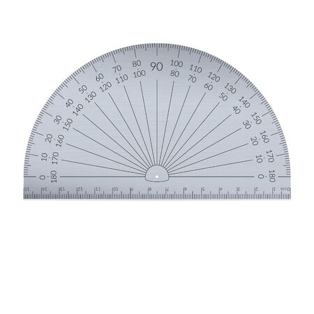 Aluminiowy kątomierz okrągły z linijką w jednostkach metrycznych.