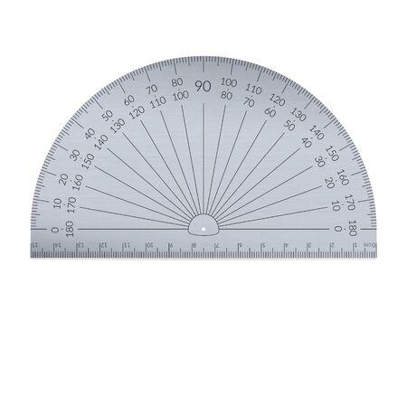 Runder Aluminium-Winkelmesser mit Lineal in metrischen Einheiten.