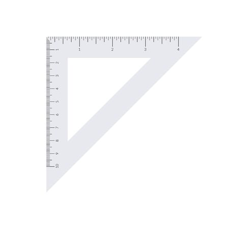 Paper isosceles triangle with metric and imperial units ruler scale Banque d'images - 133215123