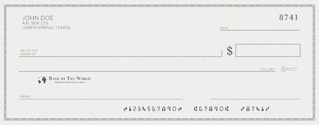 Blank bank check template. Fake cheque page mockup Vectores