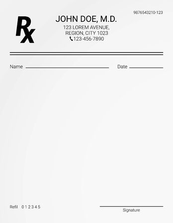 Formulario de prescripción Rx en blanco. Lista de medicamentos y tratamientos médicos Ilustración de vector
