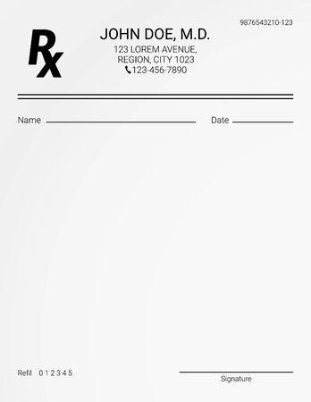 Leeres Rx-Rezeptformular. Liste der medizinischen Behandlungen und Medikamente and Vektorgrafik