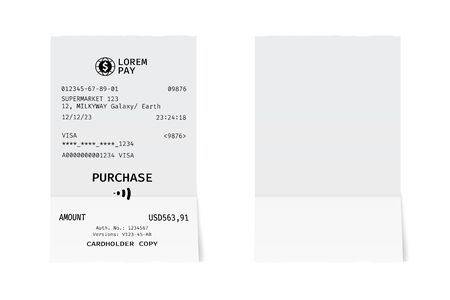 Template of a shop receipt. Mockup of a check from mall. Ilustrace