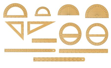 School set of wooden measure ruler, protractor and triangle in both imperial and metric units. Ilustrace