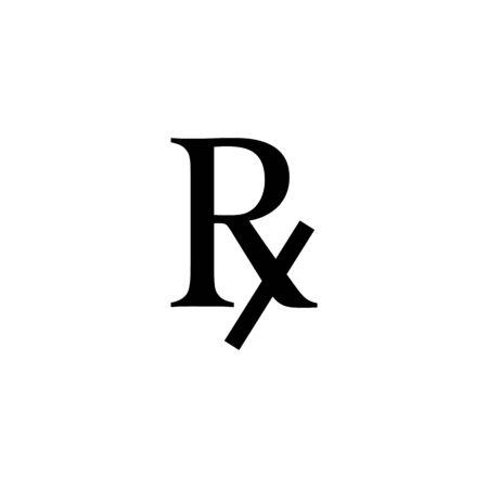Sign of medical regular prescription receipt. Rx icon.