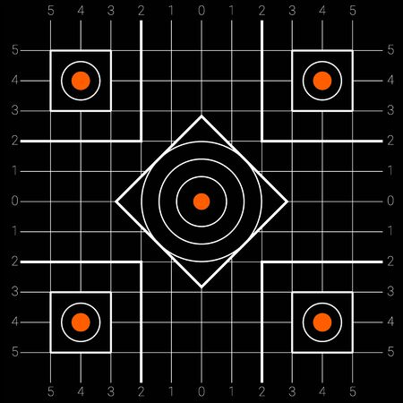 Square shaped shooting target with a points zones for firing practice and competitions