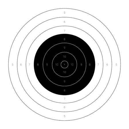Circular bullseye target for the shooting practice on a rifle range 向量圖像