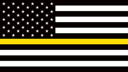 USA flag with a thin yellow or gold line - a sign to honor and respect American Dispatchers, Security Guards and Loss Prevention Ilustrace